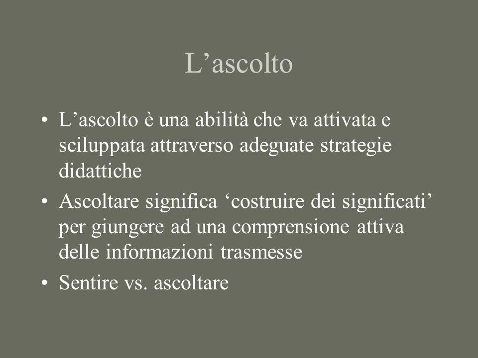 Lascolto Lascolto è una abilità che va attivata e sciluppata attraverso adeguate strategie didattiche Ascoltare significa costruire dei significati per giungere ad una comprensione attiva delle informazioni trasmesse Sentire vs.