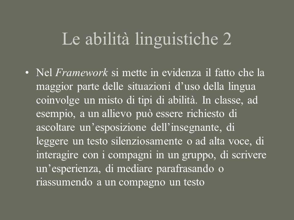 Le abilità linguistiche 3 Il concetto di abilità linguistiche fa la sua comparsa ufficiale nella scuola italiana con lintroduzione dei Programmi della Scuola Media del 1979 Lo sviluppo delle quattro abilità è un obiettivo fondamentale anche dei Programmi della Scuola Elementare del 1985 e nelle proposte della Commissione Brocca per la scuola secondaria superiore