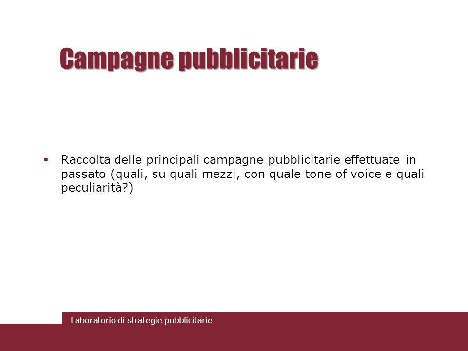 Laboratorio di strategie pubblicitarie Campagne pubblicitarie Raccolta delle principali campagne pubblicitarie effettuate in passato (quali, su quali mezzi, con quale tone of voice e quali peculiarità?)
