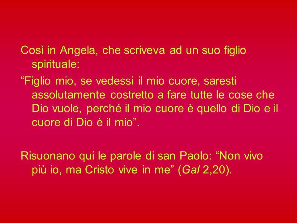 Angela da Foligno presenta il suo vissuto mistico, senza elaborarlo con la mente, perché sono illuminazioni divine che si comunicano alla sua anima in modo improvviso e inaspettato.