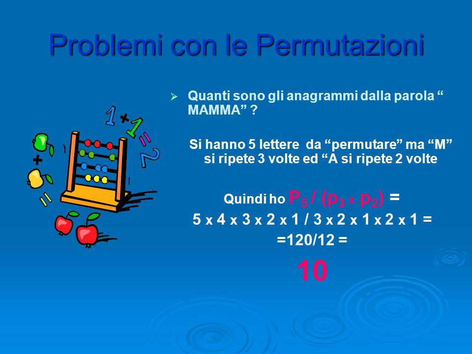Problemi con le Permutazioni Quanti sono gli anagrammi dalla parola CANE ? Si hanno 4 lettere diverse da permutare Quindi ho P 4 = 4 x 3 x 2 x 1= 24