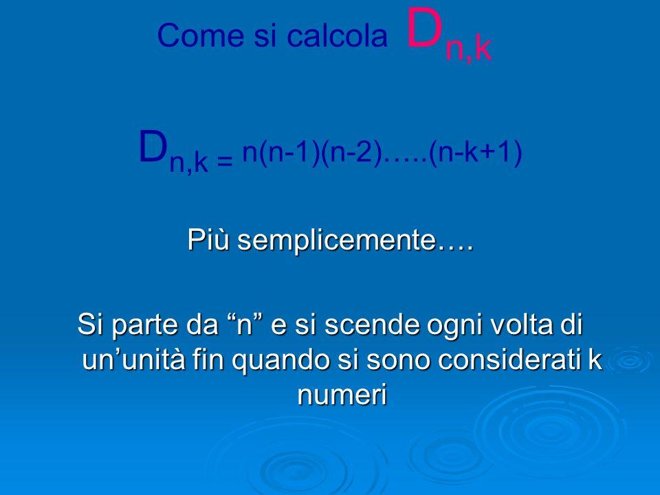 LE DISPOSIZIONI SEMPLICI Dati n elementi distinti si chiamano Disposizioni Semplici di n elementi di classe k e si indica con D n,k il numero dei grup