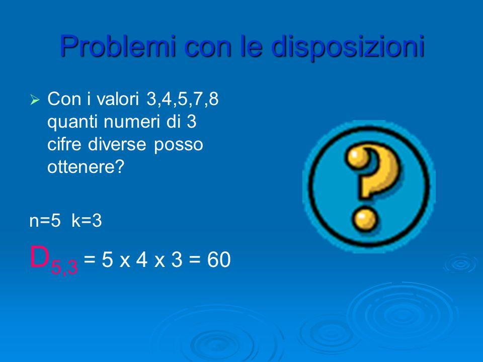Esempi di calcolo di Esempi di calcolo di D n,k D 7,2 = 7 x 6=42 D 6,3 = 6 x 5 x 4 =120 D 5,4 = 5 x 4 x 3 x 2=120