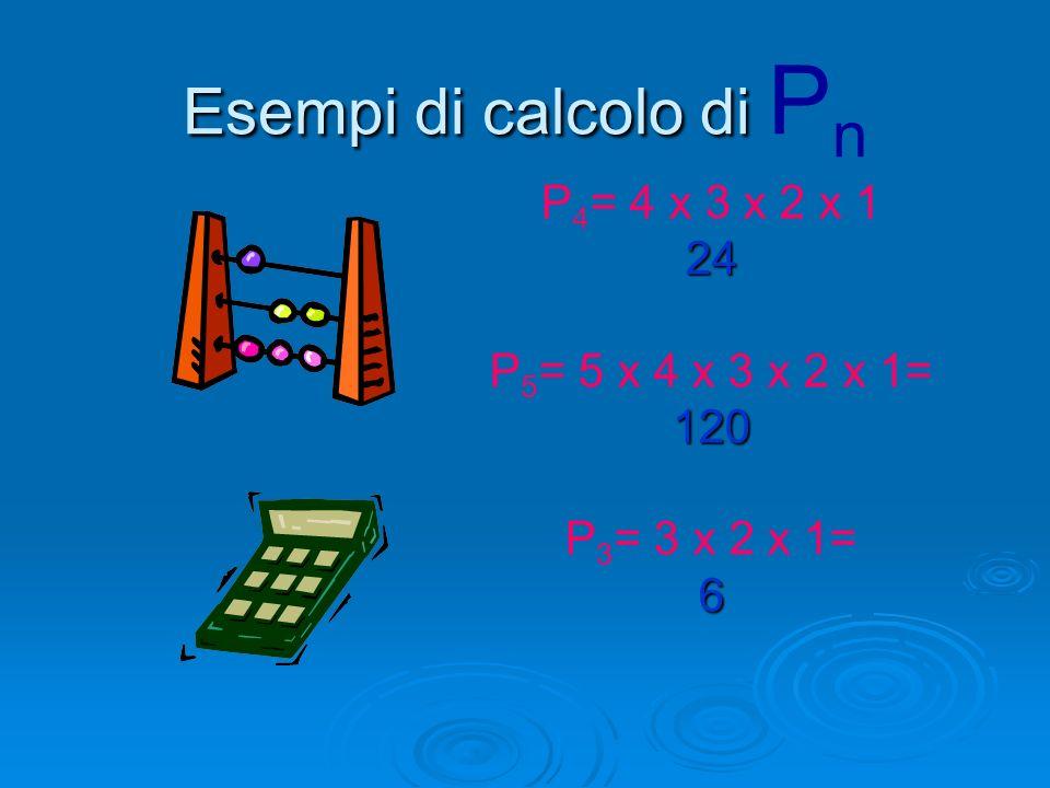 Come si calcola P n P n = n(n-1)(n-2)…..1 Più semplicemente…. Si parte da n e si scende ogni volta di ununità fin quando si arriva ad 1