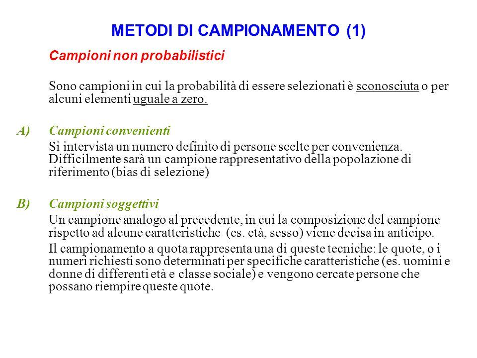 METODI DI CAMPIONAMENTO (1) Campioni non probabilistici Sono campioni in cui la probabilità di essere selezionati è sconosciuta o per alcuni elementi