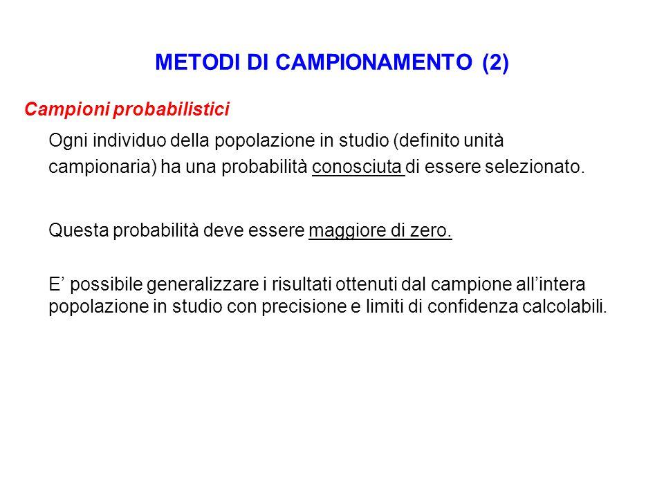 METODI DI CAMPIONAMENTO (2) Campioni probabilistici Ogni individuo della popolazione in studio (definito unità campionaria) ha una probabilità conosci