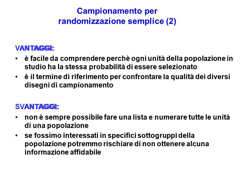 Campionamento per randomizzazione semplice (2) VANTAGGI: è facile da comprendere perchè ogni unità della popolazione in studio ha la stessa probabilit