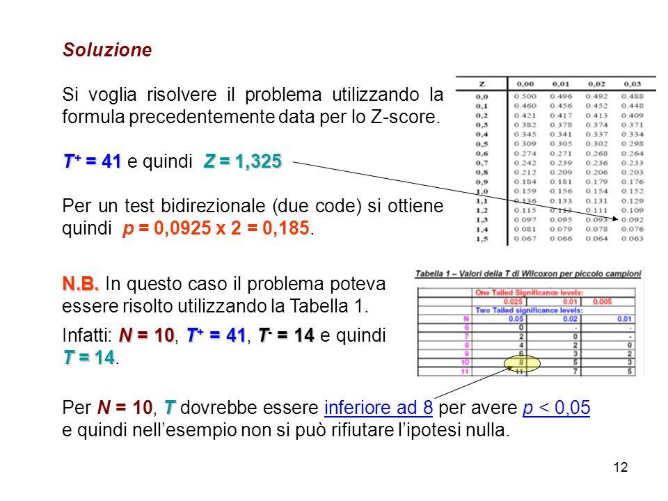 12 Soluzione Si voglia risolvere il problema utilizzando la formula precedentemente data per lo Z-score. T + = 41Z = 1,325 T + = 41 e quindi Z = 1,325