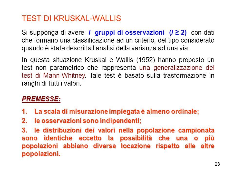 23 TEST DI KRUSKAL-WALLIS Si supponga di avere l gruppi di osservazioni (l 2) con dati che formano una classificazione ad un criterio, del tipo considerato quando è stata descritta lanalisi della varianza ad una via.