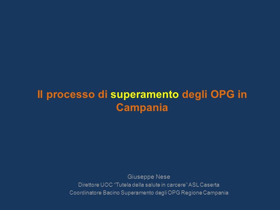 Il processo di superamento degli OPG in Campania Giuseppe Nese Direttore UOC Tutela della salute in carcere ASL Caserta Coordinatore Bacino Superamento degli OPG Regione Campania