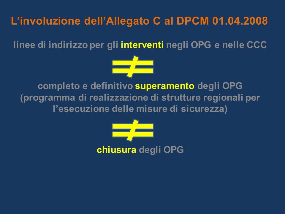 Linvoluzione dellAllegato C al DPCM 01.04.2008 linee di indirizzo per gli interventi negli OPG e nelle CCC completo e definitivo superamento degli OPG (programma di realizzazione di strutture regionali per lesecuzione delle misure di sicurezza) chiusura degli OPG