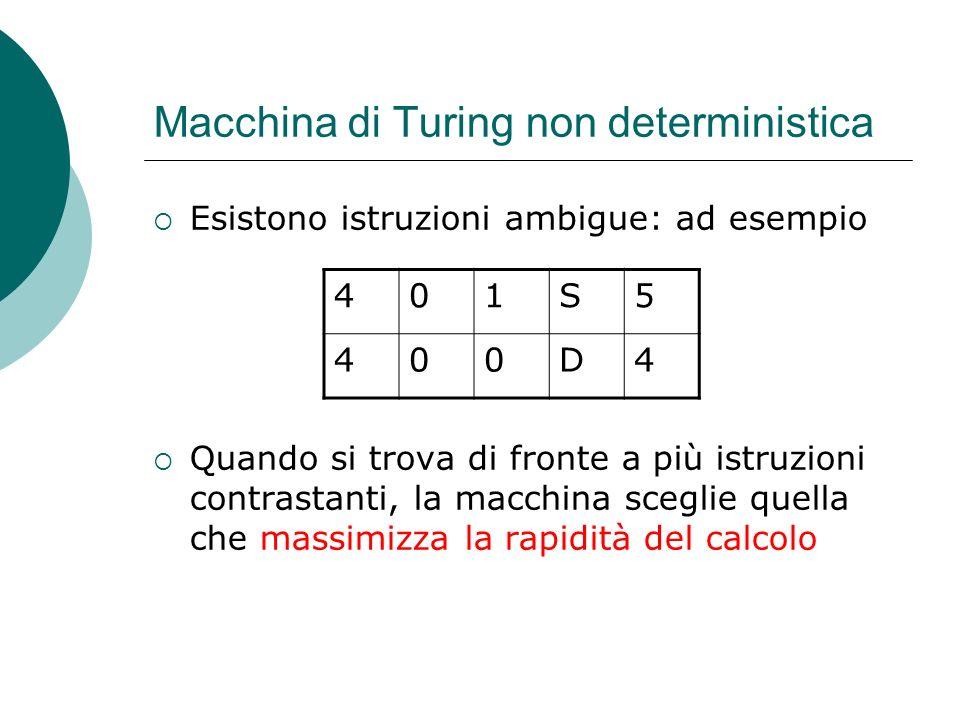 Macchina di Turing non deterministica Esistono istruzioni ambigue: ad esempio Quando si trova di fronte a più istruzioni contrastanti, la macchina sce