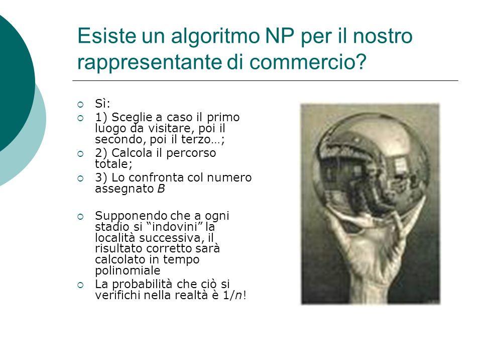 Problemi NP-completi Un problema è NP-completo se una sua eventuale soluzione implica una soluzione di ogni altro problema NP TEOREMA DI COOK: Determinare se una formula logica è una tautologia mediante le tavole di verità è un problema NP-completo (Anche il commesso viaggiatore, e molti altri problemi, lo sono)