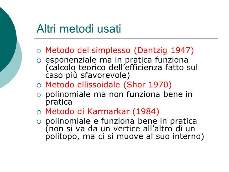 Altri metodi usati Metodo del simplesso (Dantzig 1947) esponenziale ma in pratica funziona (calcolo teorico dellefficienza fatto sul caso più sfavorev
