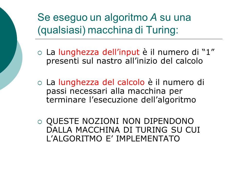 Se eseguo un algoritmo A su una (qualsiasi) macchina di Turing: La lunghezza dellinput è il numero di 1 presenti sul nastro allinizio del calcolo La lunghezza del calcolo è il numero di passi necessari alla macchina per terminare lesecuzione dellalgoritmo QUESTE NOZIONI NON DIPENDONO DALLA MACCHINA DI TURING SU CUI LALGORITMO E IMPLEMENTATO