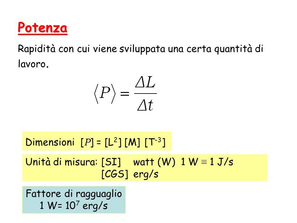 Potenza Rapidità con cui viene sviluppata una certa quantità di lavoro. Unità di misura:[SI] watt (W) 1 W 1 J/s [CGS]erg/s Dimensioni [ P ] = [L 2 ] [