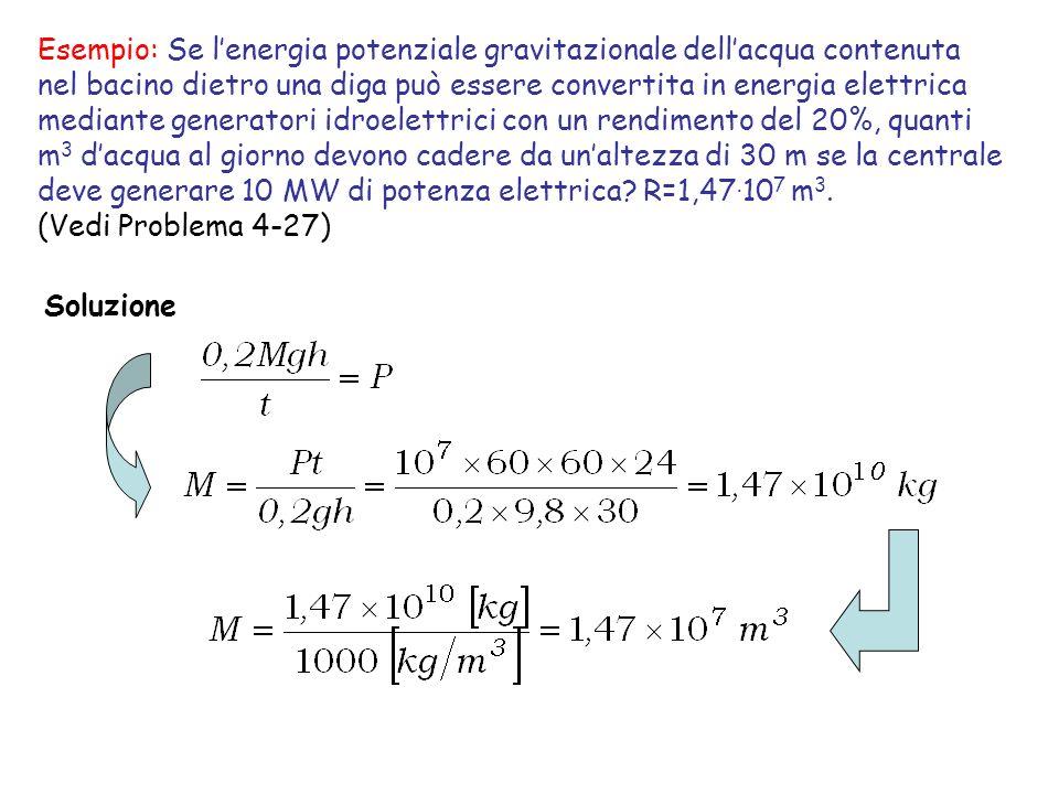 Esempio: Se lenergia potenziale gravitazionale dellacqua contenuta nel bacino dietro una diga può essere convertita in energia elettrica mediante gene