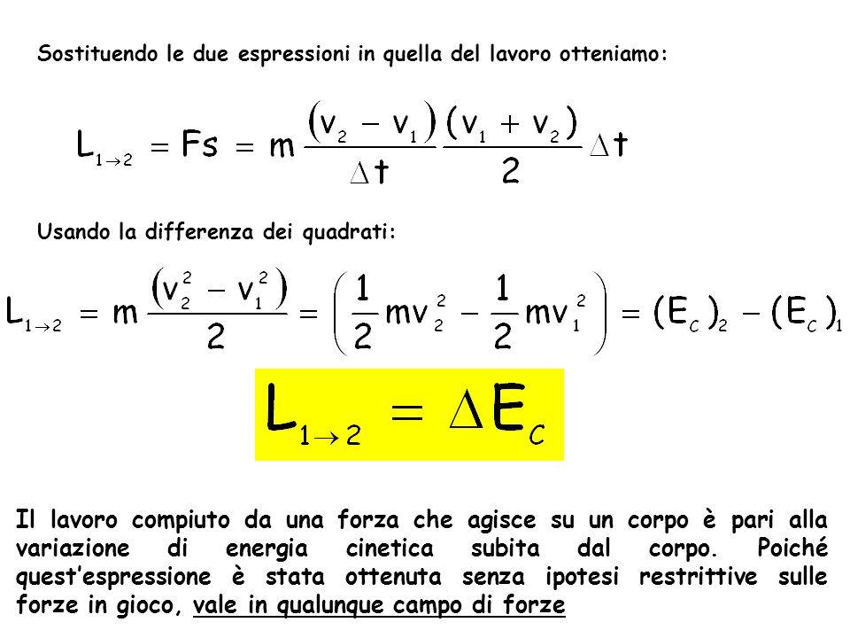 Sostituendo le due espressioni in quella del lavoro otteniamo: Usando la differenza dei quadrati: Il lavoro compiuto da una forza che agisce su un cor
