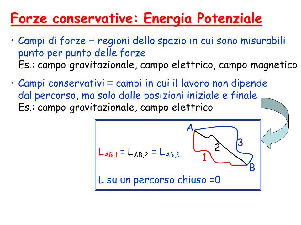 Forze conservative: Energia Potenziale Campi di forze regioni dello spazio in cui sono misurabili punto per punto delle forze Es.: campo gravitazional