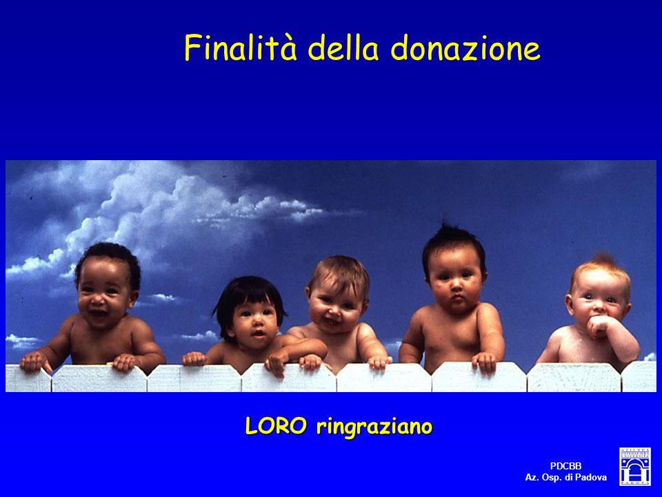 PDCBB Az. Osp. di Padova LORO ringraziano Finalità della donazione