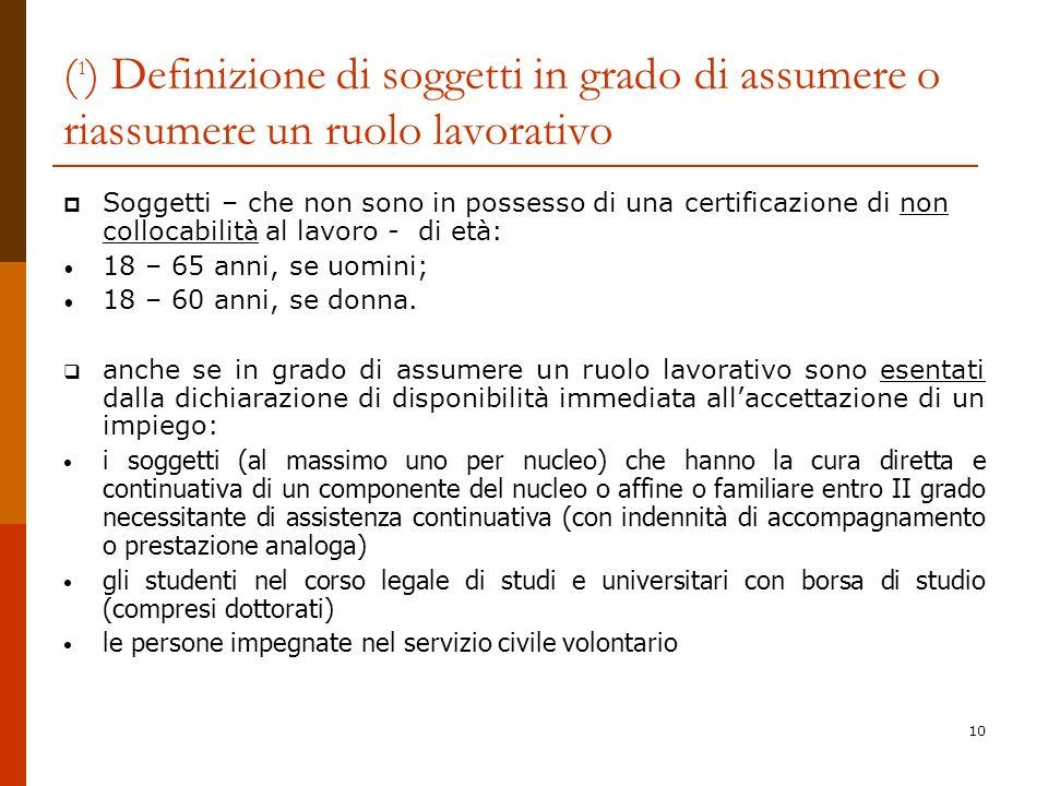 10 ( 1 ) Definizione di soggetti in grado di assumere o riassumere un ruolo lavorativo Soggetti – che non sono in possesso di una certificazione di no