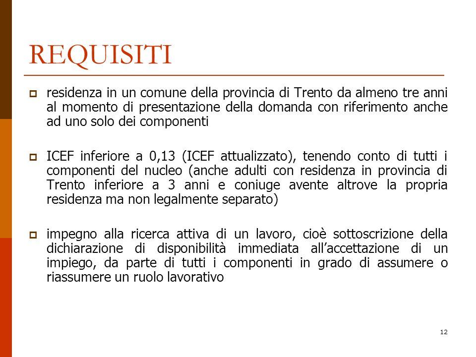 12 REQUISITI residenza in un comune della provincia di Trento da almeno tre anni al momento di presentazione della domanda con riferimento anche ad un