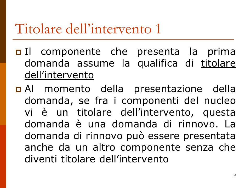 13 Titolare dellintervento 1 Il componente che presenta la prima domanda assume la qualifica di titolare dellintervento Al momento della presentazione