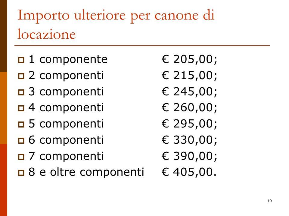 19 Importo ulteriore per canone di locazione 1 componente 205,00; 2 componenti 215,00; 3 componenti 245,00; 4 componenti 260,00; 5 componenti 295,00;