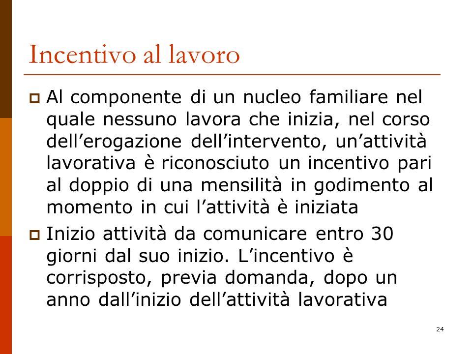 24 Incentivo al lavoro Al componente di un nucleo familiare nel quale nessuno lavora che inizia, nel corso dellerogazione dellintervento, unattività l