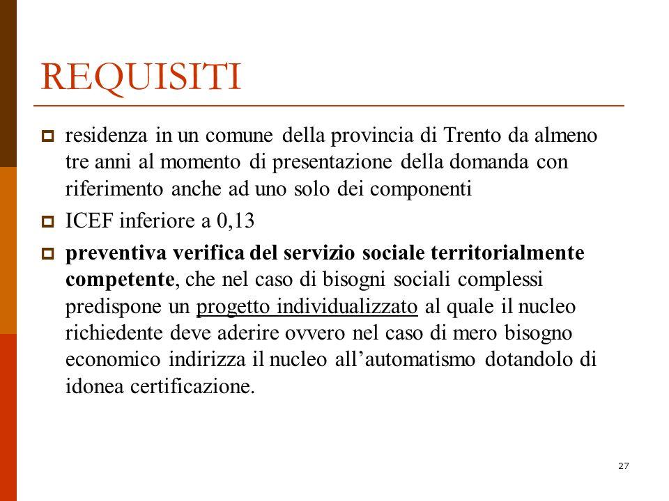 27 REQUISITI residenza in un comune della provincia di Trento da almeno tre anni al momento di presentazione della domanda con riferimento anche ad un