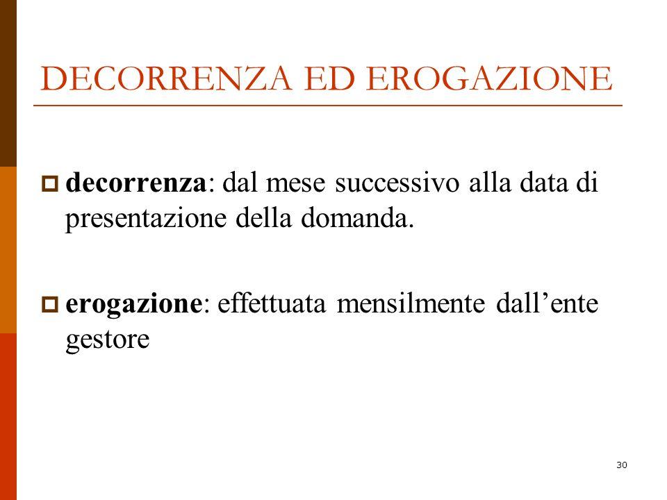30 DECORRENZA ED EROGAZIONE decorrenza: dal mese successivo alla data di presentazione della domanda. erogazione: effettuata mensilmente dallente gest
