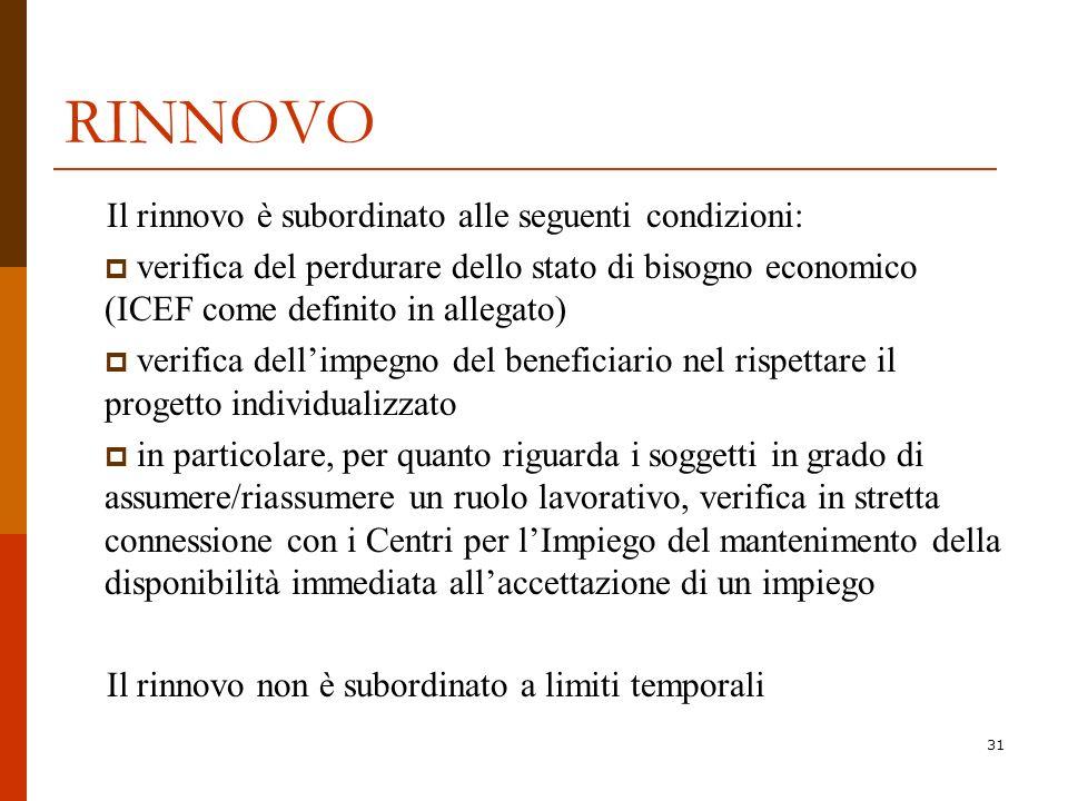31 RINNOVO Il rinnovo è subordinato alle seguenti condizioni: verifica del perdurare dello stato di bisogno economico (ICEF come definito in allegato)
