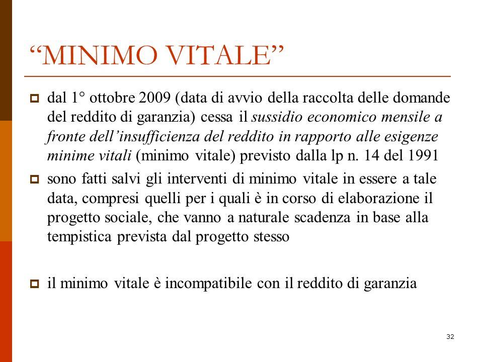 32 MINIMO VITALE dal 1° ottobre 2009 (data di avvio della raccolta delle domande del reddito di garanzia) cessa il sussidio economico mensile a fronte