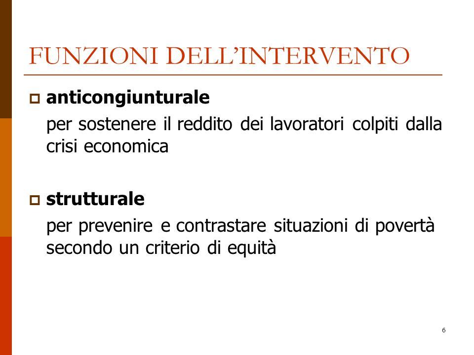 6 FUNZIONI DELLINTERVENTO anticongiunturale per sostenere il reddito dei lavoratori colpiti dalla crisi economica strutturale per prevenire e contrast