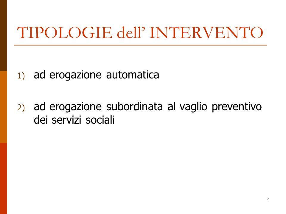 7 TIPOLOGIE dell INTERVENTO 1) ad erogazione automatica 2) ad erogazione subordinata al vaglio preventivo dei servizi sociali