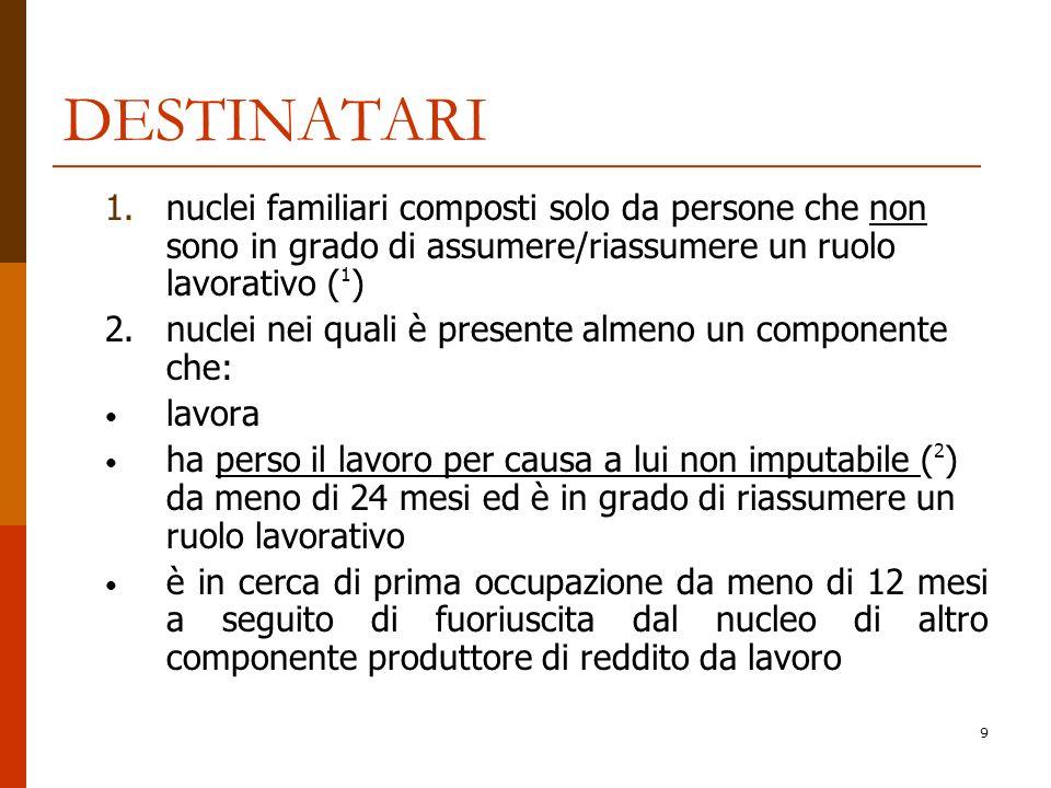 9 DESTINATARI 1.nuclei familiari composti solo da persone che non sono in grado di assumere/riassumere un ruolo lavorativo ( 1 ) 2.nuclei nei quali è