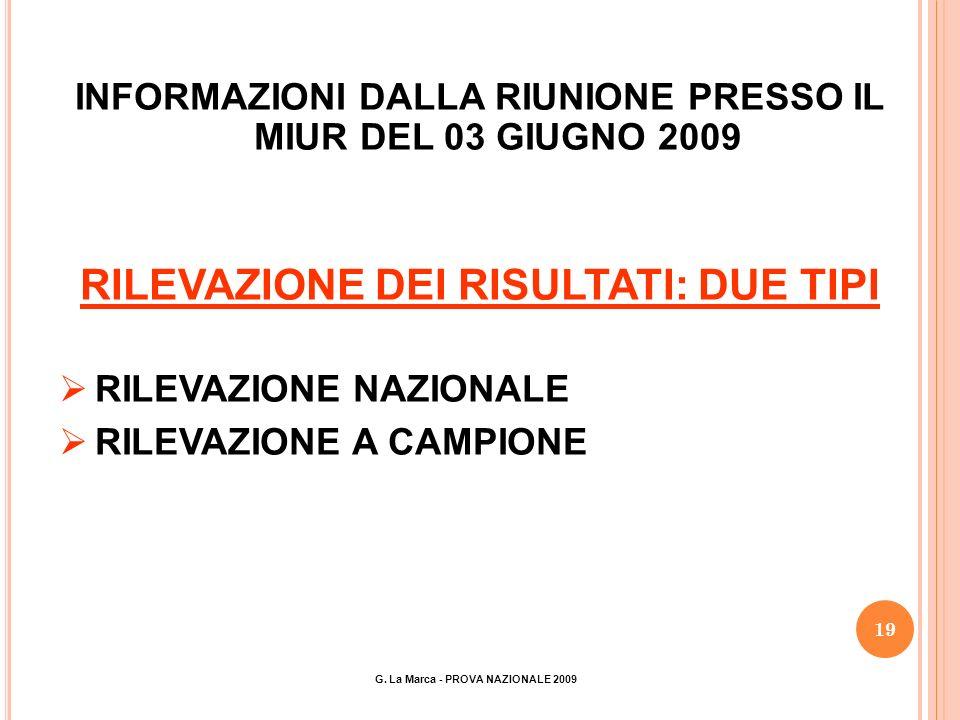 19 INFORMAZIONI DALLA RIUNIONE PRESSO IL MIUR DEL 03 GIUGNO 2009 RILEVAZIONE DEI RISULTATI: DUE TIPI RILEVAZIONE NAZIONALE RILEVAZIONE A CAMPIONE G.