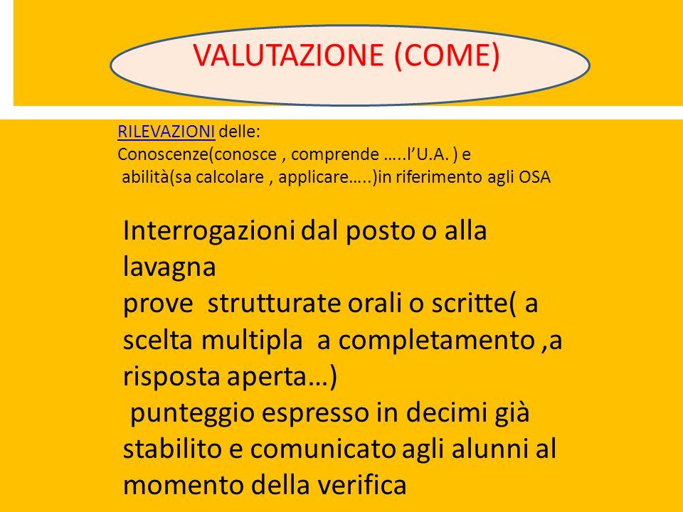 VALUTAZIONE (COME) RILEVAZIONIRILEVAZIONI delle: Conoscenze(conosce, comprende …..lU.A. ) e abilità(sa calcolare, applicare…..)in riferimento agli OSA