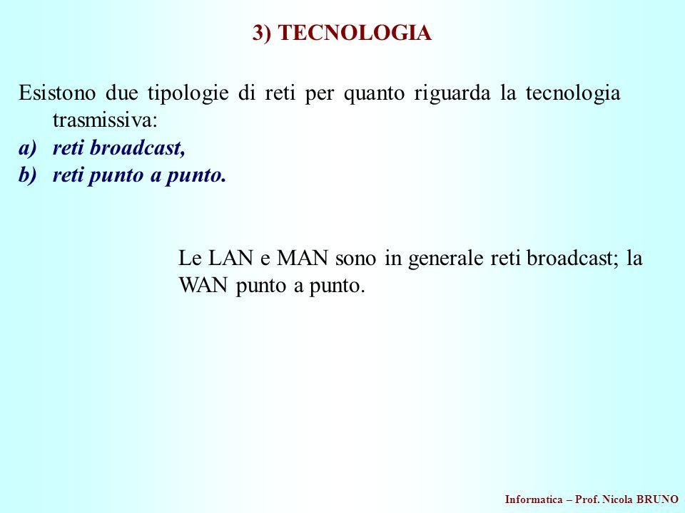 Informatica – Prof. Nicola BRUNO 3) TECNOLOGIA Esistono due tipologie di reti per quanto riguarda la tecnologia trasmissiva: a)reti broadcast, b)reti