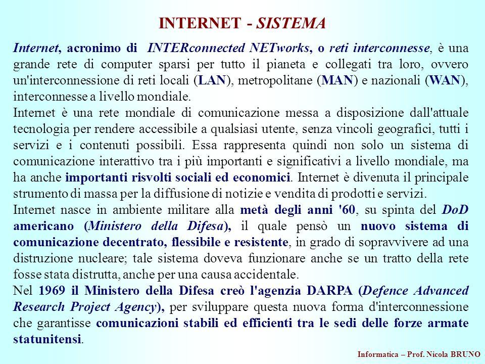 Informatica – Prof. Nicola BRUNO INTERNET - SISTEMA Internet, acronimo di INTERconnected NETworks, o reti interconnesse, è una grande rete di computer