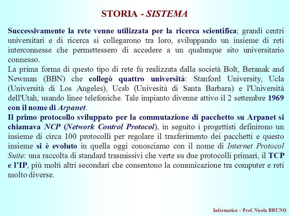 Informatica – Prof. Nicola BRUNO STORIA - SISTEMA Successivamente la rete venne utilizzata per la ricerca scientifica; grandi centri universitari e di