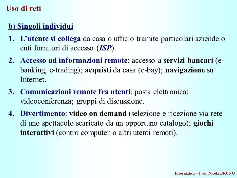 Informatica – Prof. Nicola BRUNO Uso di reti b) Singoli individui 1.Lutente si collega da casa o ufficio tramite particolari aziende o enti fornitori