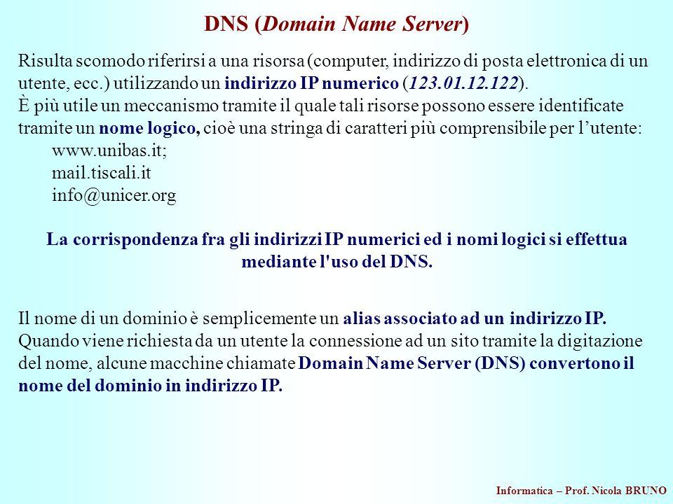 Informatica – Prof. Nicola BRUNO DNS (Domain Name Server) Il nome di un dominio è semplicemente un alias associato ad un indirizzo IP. Quando viene ri