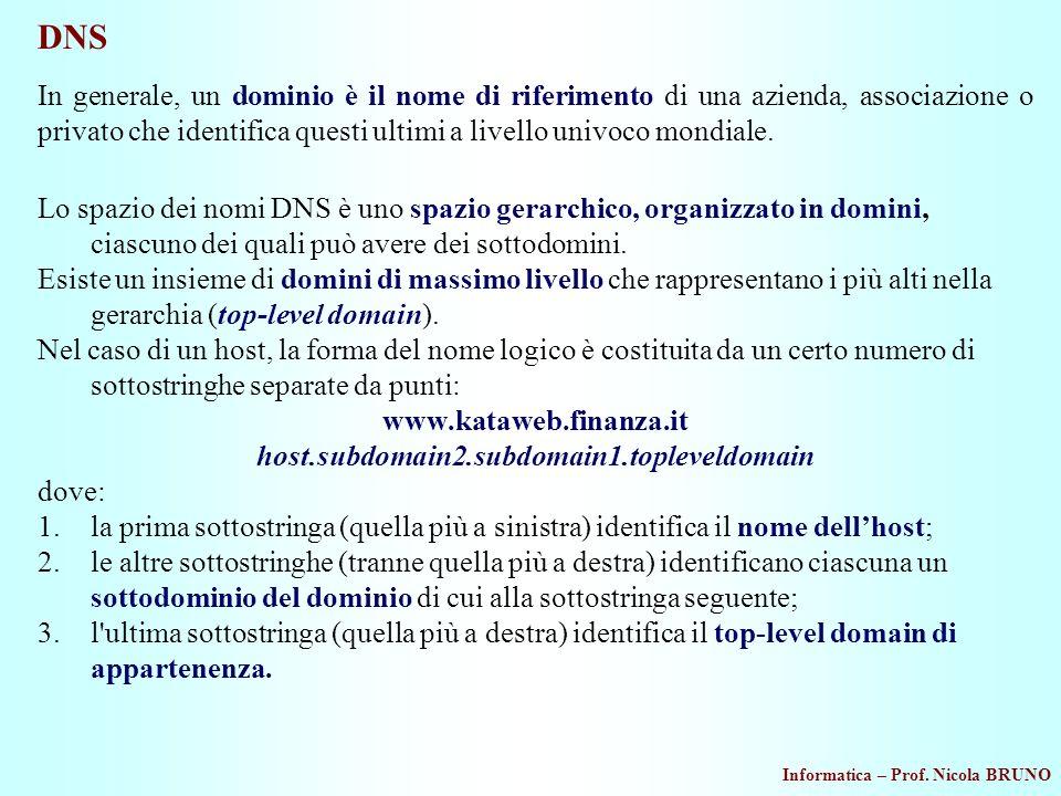 Informatica – Prof. Nicola BRUNO DNS In generale, un dominio è il nome di riferimento di una azienda, associazione o privato che identifica questi ult