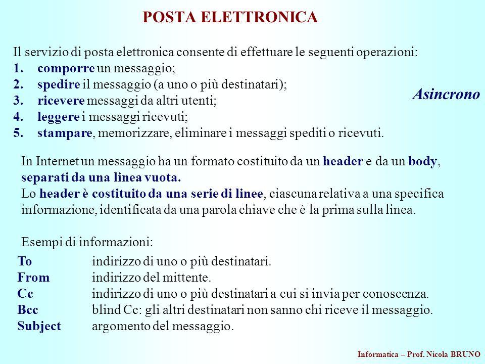 Informatica – Prof. Nicola BRUNO POSTA ELETTRONICA Il servizio di posta elettronica consente di effettuare le seguenti operazioni: 1.comporre un messa