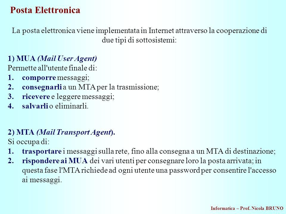 Informatica – Prof. Nicola BRUNO Posta Elettronica La posta elettronica viene implementata in Internet attraverso la cooperazione di due tipi di sotto