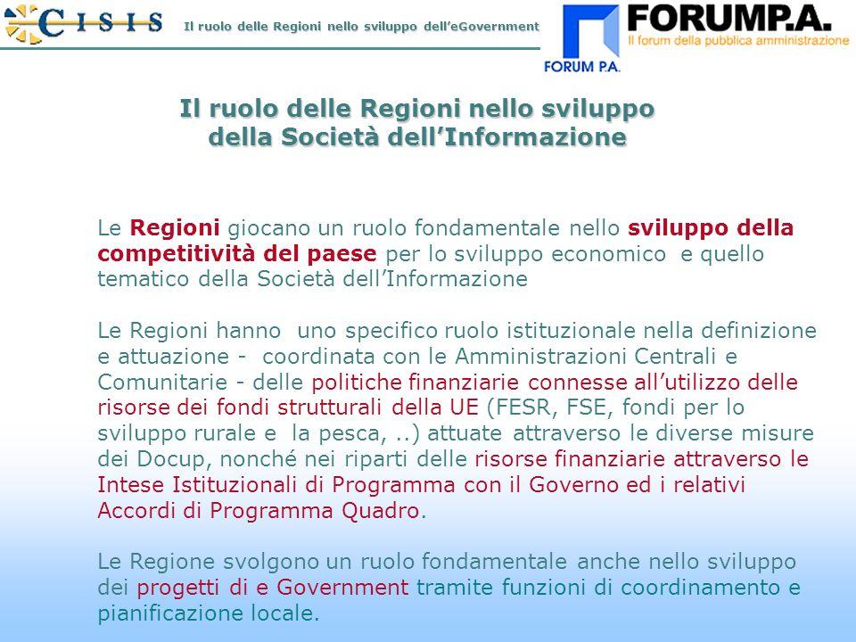 N.2 Il ruolo delle Regioni nello sviluppo della Società dellInformazione Le Regioni giocano un ruolo fondamentale nello sviluppo della competitività del paese per lo sviluppo economico e quello tematico della Società dellInformazione Le Regioni hanno uno specifico ruolo istituzionale nella definizione e attuazione - coordinata con le Amministrazioni Centrali e Comunitarie - delle politiche finanziarie connesse allutilizzo delle risorse dei fondi strutturali della UE (FESR, FSE, fondi per lo sviluppo rurale e la pesca,..) attuate attraverso le diverse misure dei Docup, nonché nei riparti delle risorse finanziarie attraverso le Intese Istituzionali di Programma con il Governo ed i relativi Accordi di Programma Quadro.
