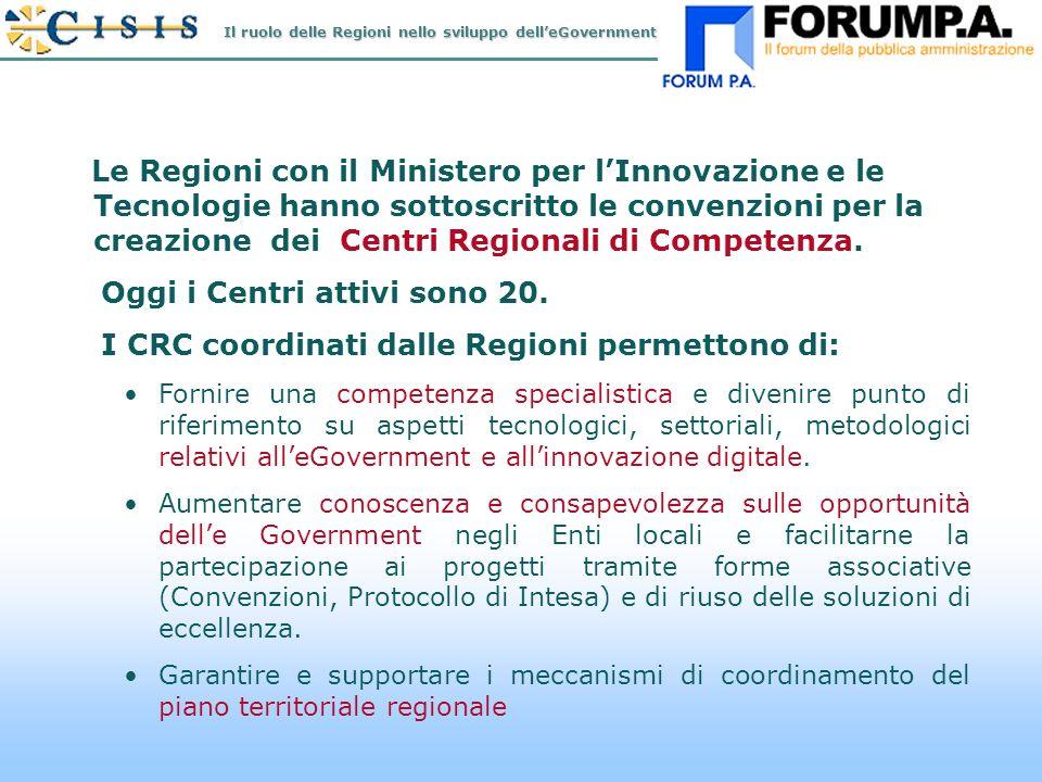 N.9 Le Regioni con il Ministero per lInnovazione e le Tecnologie hanno sottoscritto le convenzioni per la creazione dei Centri Regionali di Competenza.