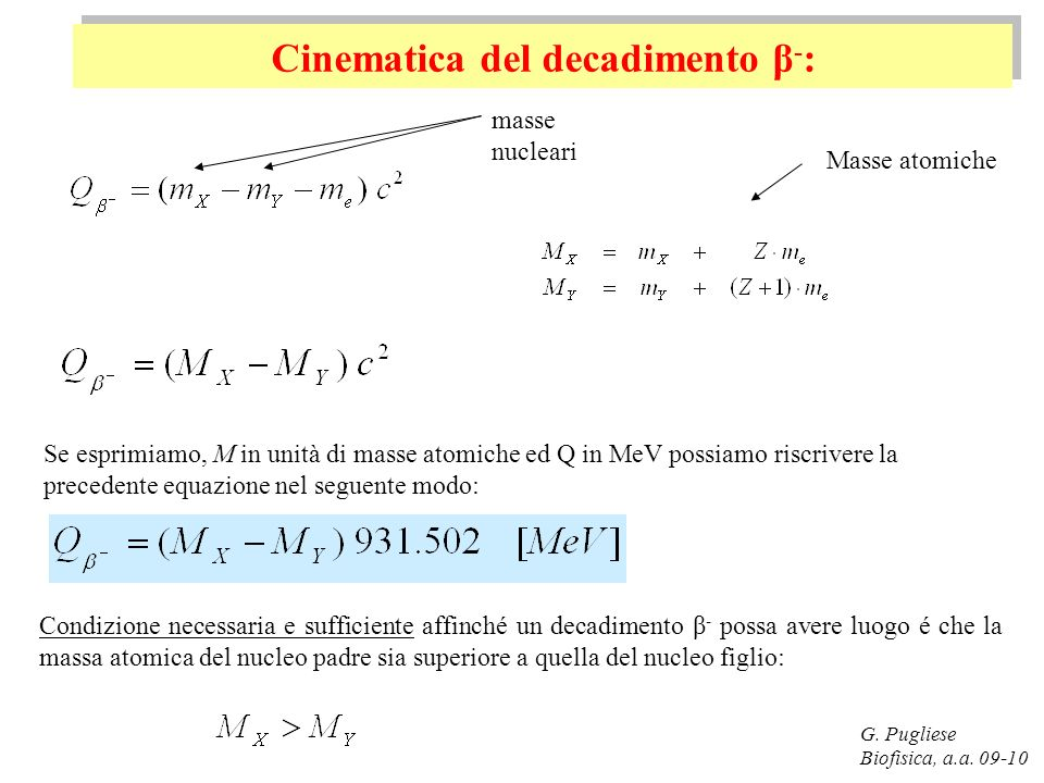 Cinematica del decadimento β - : G.Pugliese Biofisica, a.a.