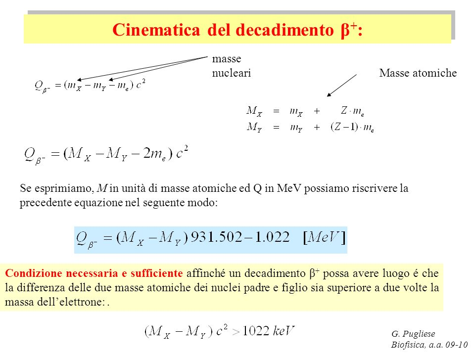 Cinematica del decadimento β + : G.Pugliese Biofisica, a.a.